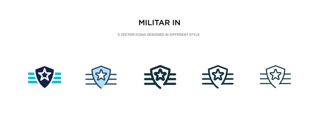 militar in icon in different style vector illustration. two colored and black militar in vector icons designed filled, outline, line and stroke style can be used for web, mobile, ui
