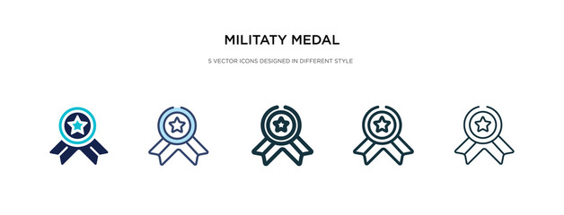 militaty medal icon in different style vector illustration. two colored and black militaty medal vector icons designed in filled, outline, line and stroke style can be used for web, mobile, ui