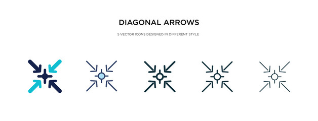 diagonal arrows icon in different style vector illustration. two colored and black diagonal arrows vector icons designed in filled, outline, line and stroke style can be used for web, mobile, ui