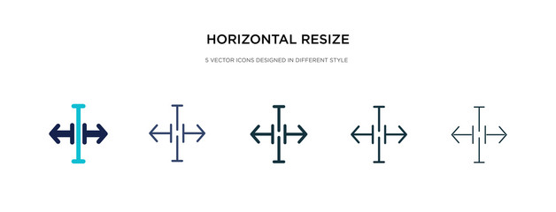 horizontal resize icon in different style vector illustration. two colored and black horizontal resize vector icons designed in filled, outline, line and stroke style can be used for web, mobile, ui Wall mural