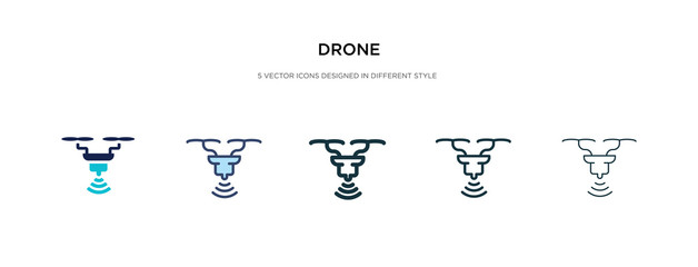 drone icon in different style vector illustration. two colored and black drone vector icons designed in filled, outline, line and stroke style can be used for web, mobile, ui