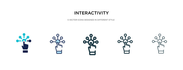 interactivity icon in different style vector illustration. two colored and black interactivity vector icons designed in filled, outline, line and stroke style can be used for web, mobile, ui Fototapete