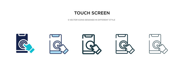 touch screen icon in different style vector illustration. two colored and black touch screen vector icons designed in filled, outline, line and stroke style can be used for web, mobile, ui