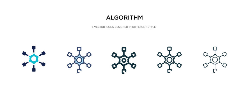 algorithm icon in different style vector illustration. two colored and black algorithm vector icons designed in filled, outline, line and stroke style can be used for web, mobile, ui