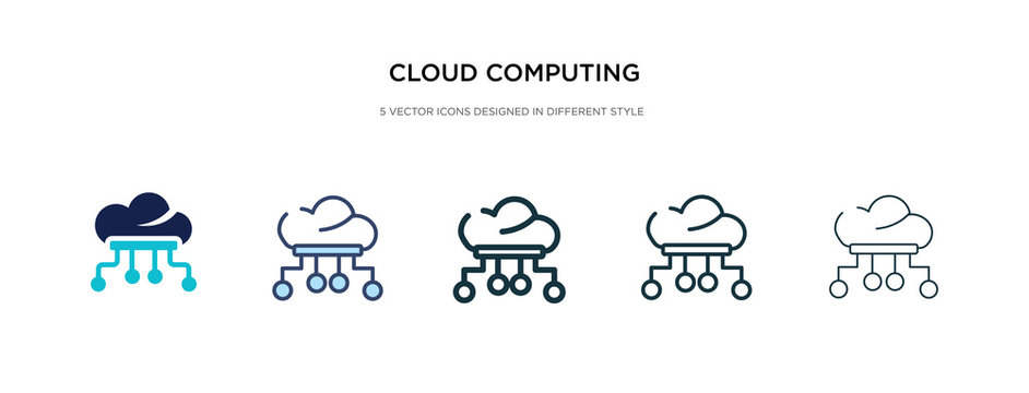 cloud computing icon in different style vector illustration. two colored and black cloud computing vector icons designed in filled, outline, line and stroke style can be used for web, mobile, ui