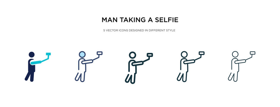 man taking a selfie icon in different style vector illustration. two colored and black man taking a selfie vector icons designed in filled, outline, line and stroke style can be used for web,