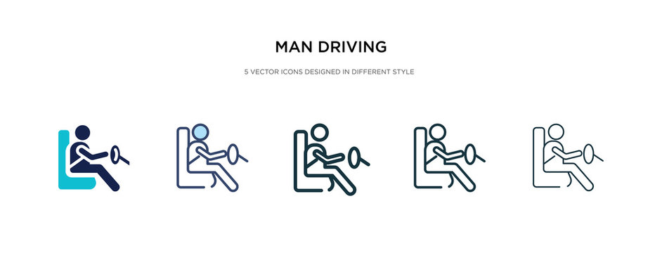 man driving icon in different style vector illustration. two colored and black man driving vector icons designed in filled, outline, line and stroke style can be used for web, mobile, ui
