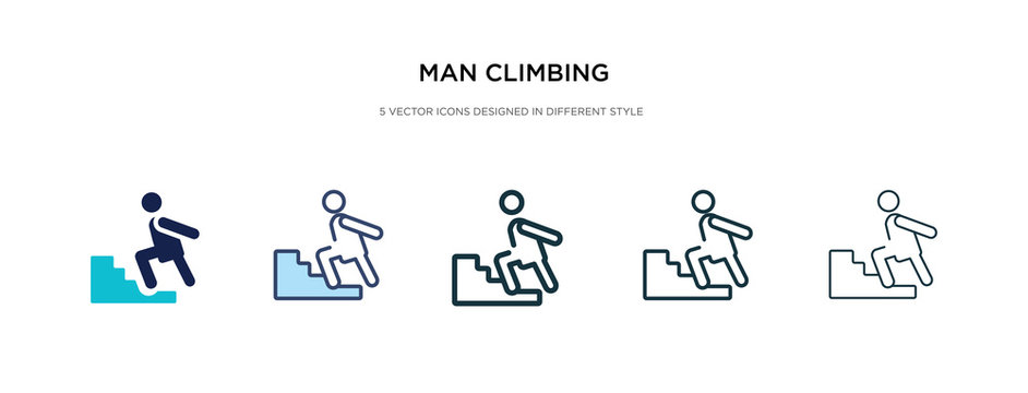 man climbing icon in different style vector illustration. two colored and black man climbing vector icons designed in filled, outline, line and stroke style can be used for web, mobile, ui