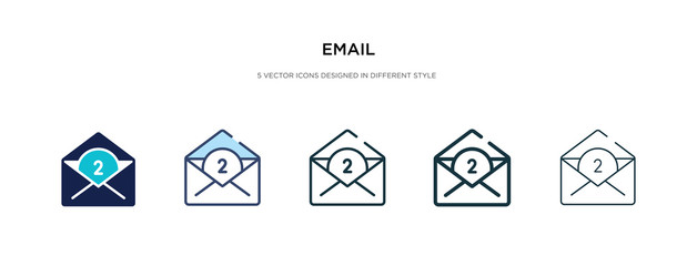 email icon in different style vector illustration. two colored and black email vector icons designed in filled, outline, line and stroke style can be used for web, mobile, ui