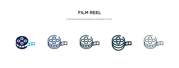 film reel icon in different style vector illustration. two colored and black film reel vector icons designed in filled, outline, line and stroke style can be used for web, mobile, ui