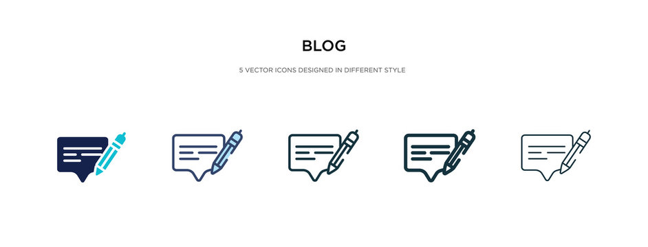blog icon in different style vector illustration. two colored and black blog vector icons designed in filled, outline, line and stroke style can be used for web, mobile, ui