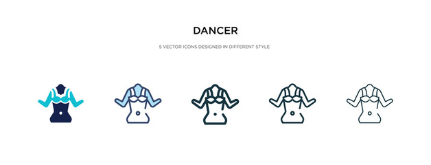 dancer icon in different style vector illustration. two colored and black dancer vector icons designed in filled, outline, line and stroke style can be used for web, mobile, ui