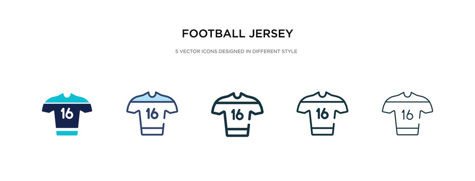football jersey icon in different style vector illustration. two colored and black football jersey vector icons designed in filled, outline, line and stroke style can be used for web, mobile, ui
