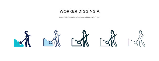 worker digging a hole icon in different style vector illustration. two colored and black worker digging a hole vector icons designed in filled, outline, line and stroke style can be used for web,