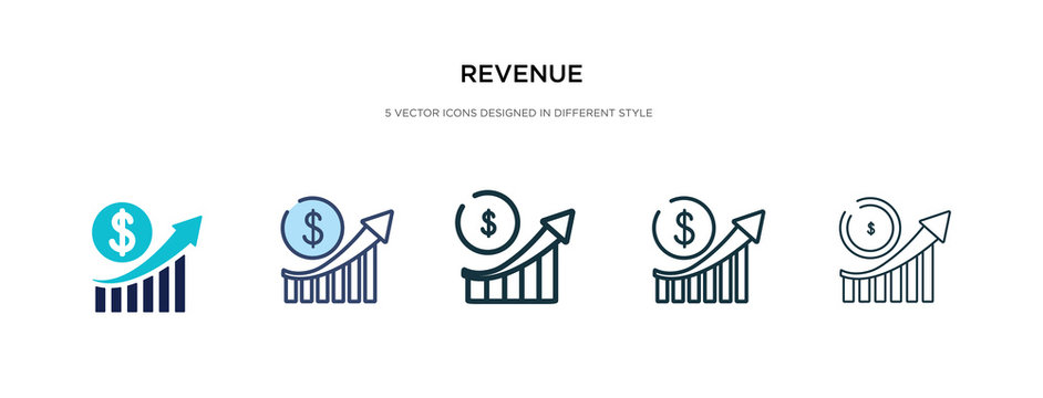 revenue icon in different style vector illustration. two colored and black revenue vector icons designed in filled, outline, line and stroke style can be used for web, mobile, ui