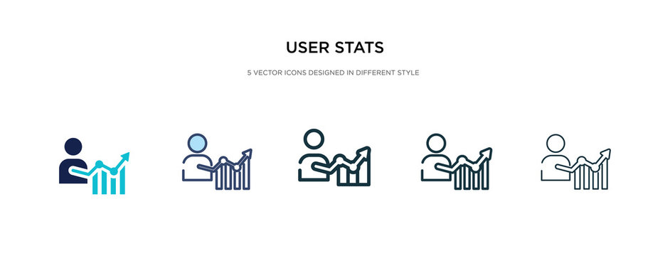 user stats icon in different style vector illustration. two colored and black user stats vector icons designed in filled, outline, line and stroke style can be used for web, mobile, ui