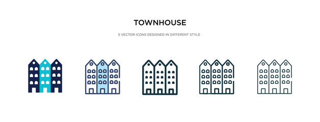 townhouse icon in different style vector illustration. two colored and black townhouse vector icons designed in filled, outline, line and stroke style can be used for web, mobile, ui