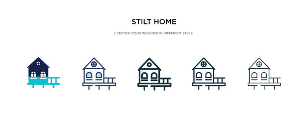 stilt home icon in different style vector illustration. two colored and black stilt home vector icons designed in filled, outline, line and stroke style can be used for web, mobile, ui