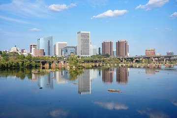 Richmond Virginia skyline reflecting in the James river