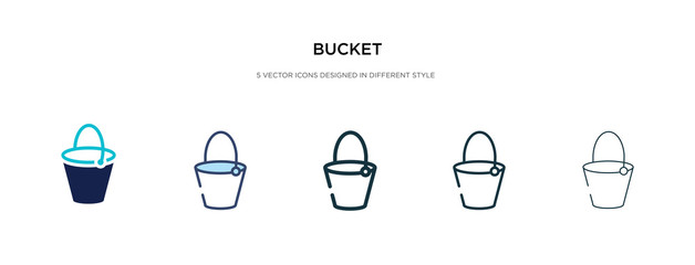 bucket icon in different style vector illustration. two colored and black bucket vector icons designed in filled, outline, line and stroke style can be used for web, mobile, ui