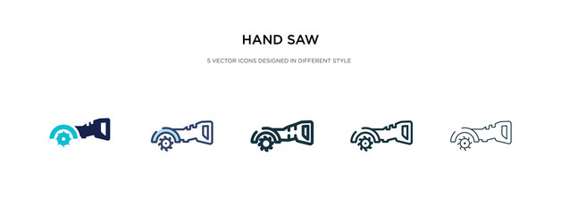 hand saw icon in different style vector illustration. two colored and black hand saw vector icons designed in filled, outline, line and stroke style can be used for web, mobile, ui