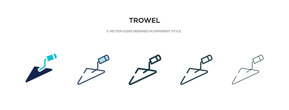 trowel icon in different style vector illustration. two colored and black trowel vector icons designed in filled, outline, line and stroke style can be used for web, mobile, ui