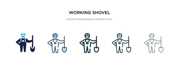 working shovel icon in different style vector illustration. two colored and black working shovel vector icons designed in filled, outline, line and stroke style can be used for web, mobile, ui