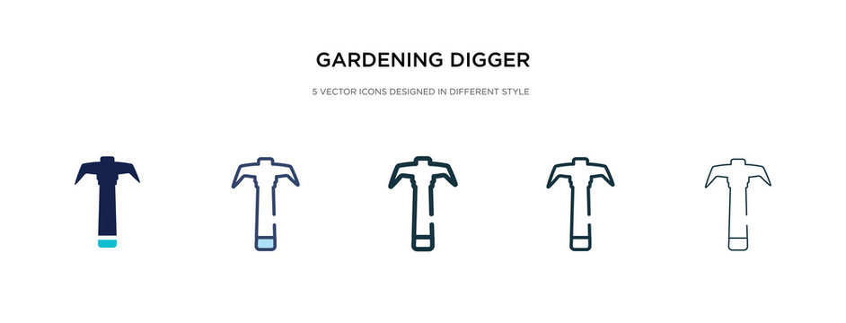 gardening digger icon in different style vector illustration. two colored and black gardening digger vector icons designed in filled, outline, line and stroke style can be used for web, mobile, ui