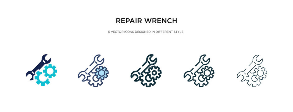 repair wrench icon in different style vector illustration. two colored and black repair wrench vector icons designed in filled, outline, line and stroke style can be used for web, mobile, ui