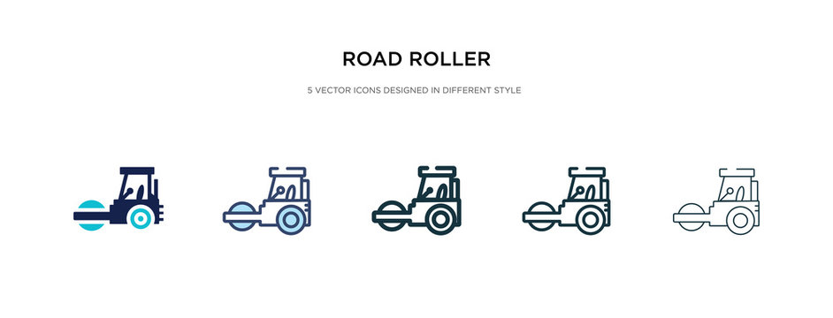 road roller icon in different style vector illustration. two colored and black road roller vector icons designed in filled, outline, line and stroke style can be used for web, mobile, ui
