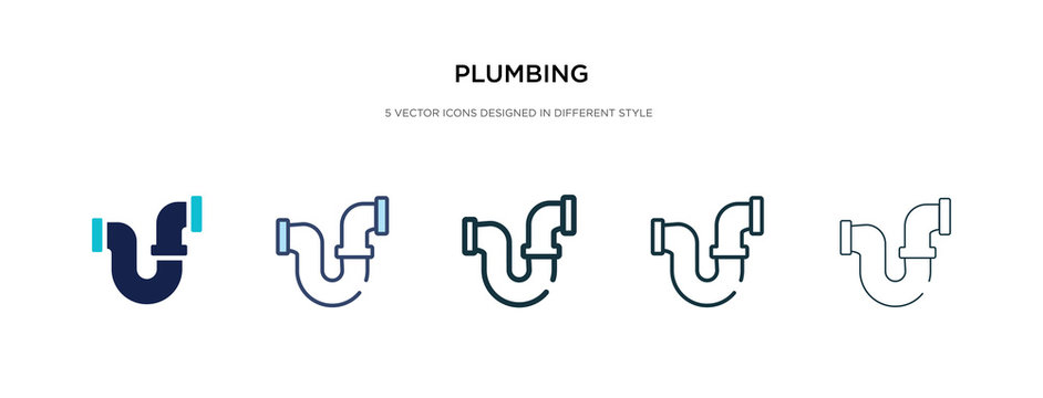 plumbing icon in different style vector illustration. two colored and black plumbing vector icons designed in filled, outline, line and stroke style can be used for web, mobile, ui