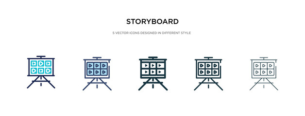 storyboard icon in different style vector illustration. two colored and black storyboard vector icons designed in filled, outline, line and stroke style can be used for web, mobile, ui