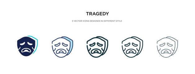 tragedy icon in different style vector illustration. two colored and black tragedy vector icons designed in filled, outline, line and stroke style can be used for web, mobile, ui