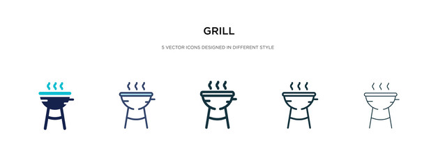 grill icon in different style vector illustration. two colored and black grill vector icons designed in filled, outline, line and stroke style can be used for web, mobile, ui