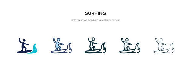 surfing icon in different style vector illustration. two colored and black surfing vector icons designed in filled, outline, line and stroke style can be used for web, mobile, ui
