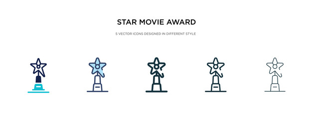 star movie award icon in different style vector illustration. two colored and black star movie award vector icons designed in filled, outline, line and stroke style can be used for web, mobile, ui