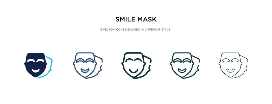 smile mask icon in different style vector illustration. two colored and black smile mask vector icons designed in filled, outline, line and stroke style can be used for web, mobile, ui