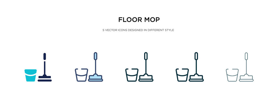 floor mop icon in different style vector illustration. two colored and black floor mop vector icons designed in filled, outline, line and stroke style can be used for web, mobile, ui