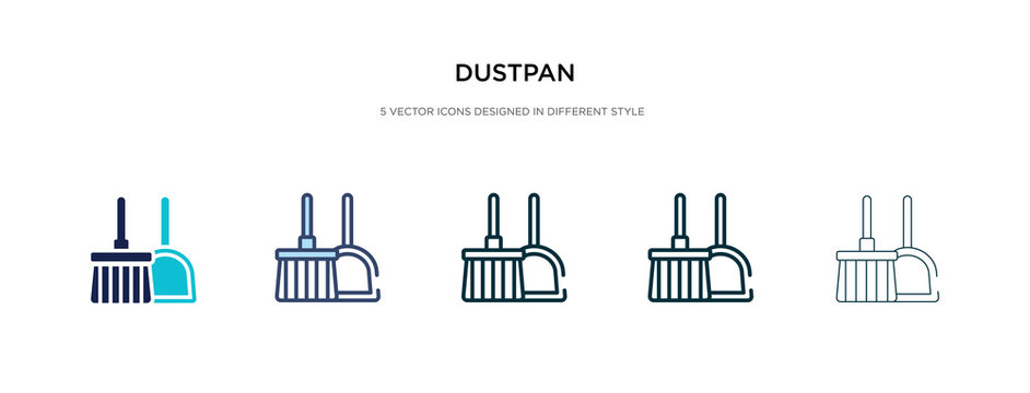 dustpan icon in different style vector illustration. two colored and black dustpan vector icons designed in filled, outline, line and stroke style can be used for web, mobile, ui