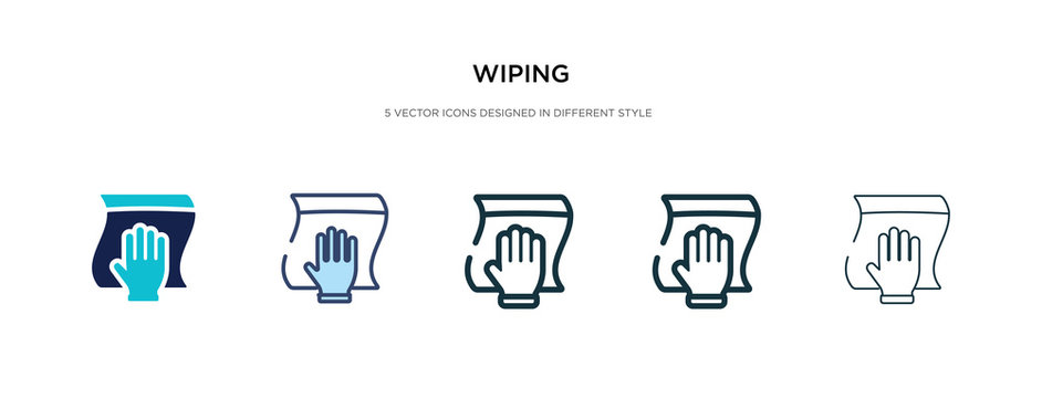 wiping icon in different style vector illustration. two colored and black wiping vector icons designed in filled, outline, line and stroke style can be used for web, mobile, ui