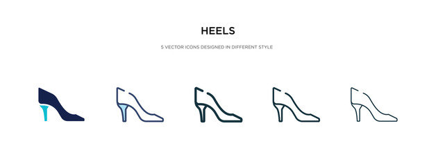 heels icon in different style vector illustration. two colored and black heels vector icons designed in filled, outline, line and stroke style can be used for web, mobile, ui