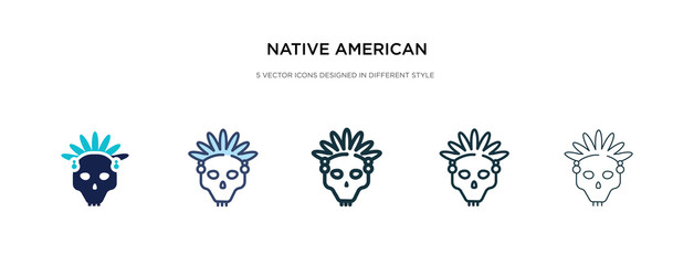 native american skull icon in different style vector illustration. two colored and black native american skull vector icons designed in filled, outline, line and stroke style can be used for web,