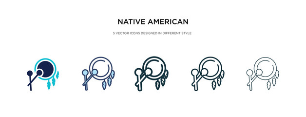 native american drum icon in different style vector illustration. two colored and black native american drum vector icons designed in filled, outline, line and stroke style can be used for web,