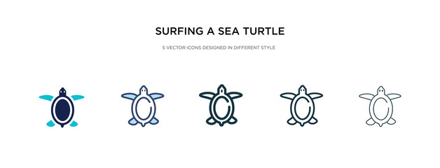 surfing a sea turtle icon in different style vector illustration. two colored and black surfing a sea turtle vector icons designed in filled, outline, line and stroke style can be used for web,