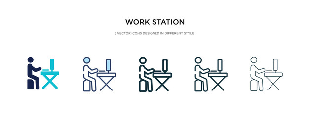 work station icon in different style vector illustration. two colored and black work station vector icons designed in filled, outline, line and stroke style can be used for web, mobile, ui