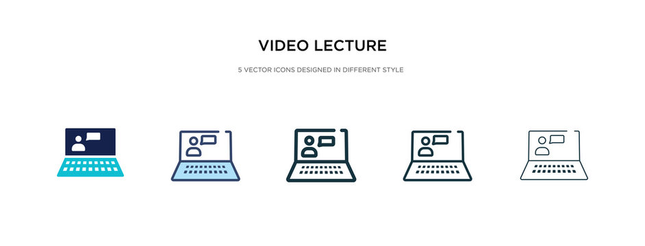 video lecture icon in different style vector illustration. two colored and black video lecture vector icons designed in filled, outline, line and stroke style can be used for web, mobile, ui