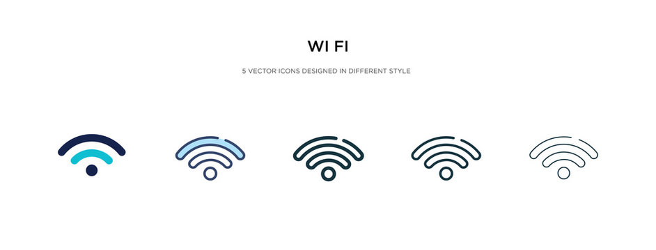wi fi icon in different style vector illustration. two colored and black wi fi vector icons designed in filled, outline, line and stroke style can be used for web, mobile, ui