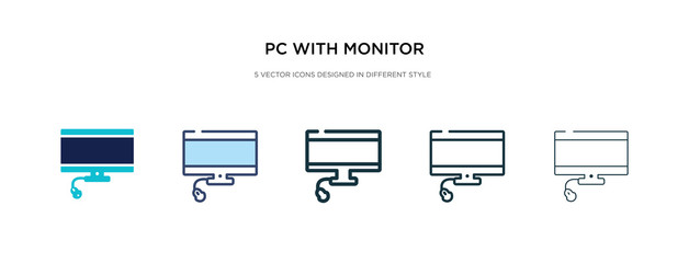pc with monitor icon in different style vector illustration. two colored and black pc with monitor vector icons designed in filled, outline, line and stroke style can be used for web, mobile, ui