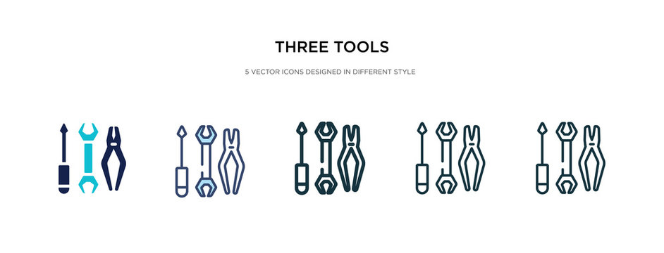 three tools icon in different style vector illustration. two colored and black three tools vector icons designed in filled, outline, line and stroke style can be used for web, mobile, ui