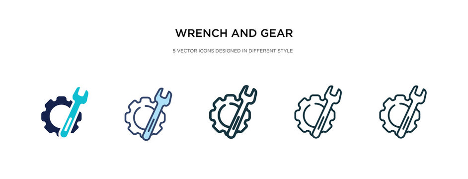 wrench and gear icon in different style vector illustration. two colored and black wrench and gear vector icons designed in filled, outline, line stroke style can be used for web, mobile, ui